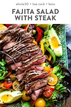This fajita salad is loaded with tender steak, veggies, and a quick and flavorful dressing. low carb, and keto, it's a healthy Mexican dinner recipe that you can throw together in about half an hour! Paleo Recipes, Low Carb Recipes, Crockpot Recipes, Healthy Steak Recipes, Cooking Light Recipes, Cooking Kale, Goulash Recipes, Cooking Corn, Cooking Pasta