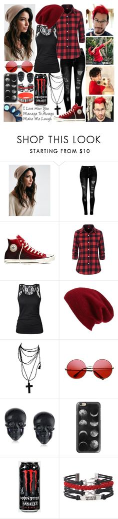 """Markimoo (Markiplier) Red Set"" by rhiannon-src ❤ liked on Polyvore featuring Converse, Halogen, INDIE HAIR, Tarina Tarantino, Casetify and Hot Topic"
