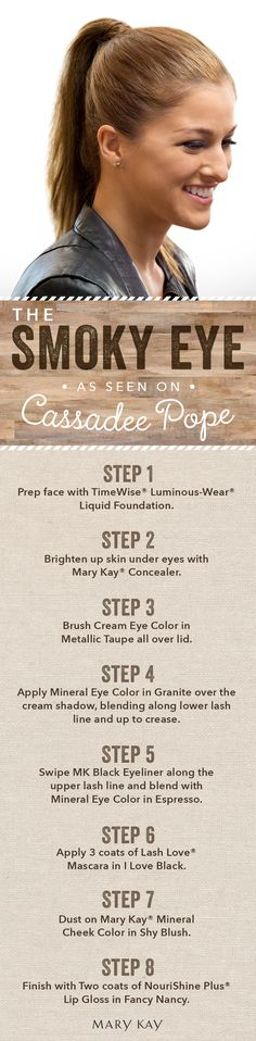 Rock a smoky eye and feel like a country queen! Follow country music star Cassadee Pope's easy tutorial and you will be turning cowboy heads in no time! Add a swipe of gloss for an extra special touch before you head out on the dance floor. | Mary Kay