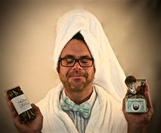 Breathe into your core teachers, less than one week to go.  Doug is wearing a bow tie by Handmade By Peake. He is holding Cellar Door Chocolates Salted Almond Bark, a Hot Off the Lathe badger shaving brush, a razor from of Hot Off the Lathe's Maker's Mark Badger Razor Set, and Guy with a Beard Products Goat Milk Soap.