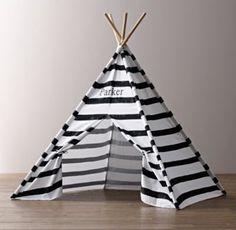 Printed Canvas Black & White Teepee Tent