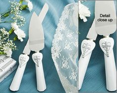 Love and Faith Collection Heart and Cross Cake Knife and Server Set