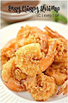 Keto Fried Shrimp- Crispy, Juicy OPTIONAL AIR FRYER | 1000 Air Fryer Recipes Shrimp, Air Fryer Recipes Appetizers, Fried Shrimp Recipes, Air Fryer Recipes Breakfast, Air Fryer Oven Recipes, Seafood Recipes, Low Carb Recipes, Cooking Recipes, Healthy Recipes