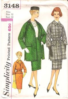 Vintage 1950's Simplicity 3148 Wiggle Skirt and Coat Sewing Pattern, offered on Etsy by GrandmaMadeWithLove