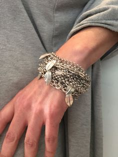 Now that's a chunky bracelet!  I love all the chain piled up on top of each layer!  So unique and so cool! Get inspired and check out our chain here: https://www.etsy.com/shop/OakhillSilverSupply?ref=hdr_shop_menu&search_query=chain+heavy Chainmail bracelet Cable link bracelet Multi by VeredLaorJewelry