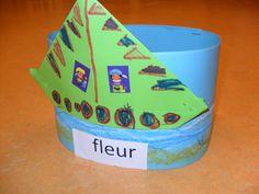 sinterklaas hoed. Met schrijfdansen hebben de kinderen golven gemaakt op de hoed. Van een vouwblaadje maken ze het stoombootje (muts vouwen) en versieren ze de boot.