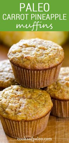 These easy almond flour carrot pineapple muffins are a perfect breakfast idea or for a quick snack. Such an easy recipe! You can meal prep by baking ahead and then freeze them for on the go breakfasts! And they're made with almond flour so they're paleo, gluten-free, grain-free and refined sugar-free. Healthy Muffin Recipes, Healthy Dessert Recipes, Snack Recipes, Paleo Recipes, Healthy Muffins, Healthy Breakfasts, Healthy Foods, Easy Recipes, Desserts