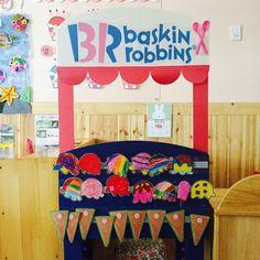 [느리쌤] 여름 환경구성, 여름환경판 , 아이스크림가게 만들기 : 네이버 블로그 Cream Furniture, Baskin Robbins, Dramatic Play, Art Classroom, Toy Chest, Playroom, Diy And Crafts, Toddler Bed, Seasons
