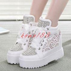 Womens Rhinestones Mesh Breath Sneakers Lace Platform Wedge Heel Sports Shoes