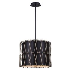 """The minimalist shape of this drum chandelier gets a striking twist by the addition of a bright Gold diamond patterned cage surrounding a Black fabric shade. A frosted glass diffuser allows light to filter through and completes the minimal look. Shade is 11.5""""H x 14W. Can be semi-flush mounted."""