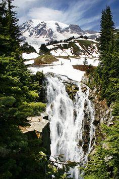 Myrtle Falls and Mount Rainier, Washington - USA