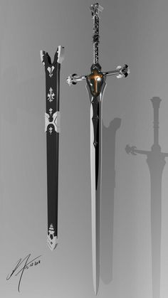 Balmung Sword modeled in Maya Ninja Weapons, Anime Weapons, Sci Fi Weapons, Weapon Concept Art, Armor Concept, Weapons Guns, Fantasy Sword, Fantasy Armor, Swords And Daggers