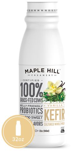 """Maple Hill Creamery - 100% Grass Fed Vanilla Kefir. The """"cleaner"""" kefir! No added anything (except lots of love) and vanilla extract."""