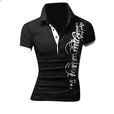 Jeansian Mens Dress Casual Slim Fit Short Sleeve T-Shirts Black M Men's Fashion, Fashion Outfits, Casual Shirts For Men, Men Casual, Black M, Polo T Shirts, Shirt Style, Men Dress, Casual Dresses