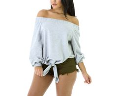 FGirl T-shirts Tops Clothes for Women Gray Stylish Long Sleeve Off-shoulder Bow Top Crop top T-shirt FG21581