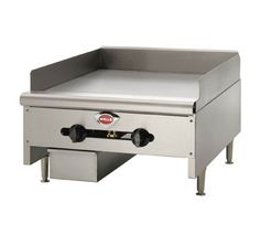 "Wells Griddle 24"" W. - HDG-2430G    Wells Griddle 24"" W. - HDG-2430G  Griddle, natural gas, counter unit, 3/4"" griddle plate, 24"" wide grill area, (2) manual controls, splashguard, stainless steel housing & grease drawer, 4"" steel legs, 60,000 BTU"
