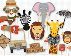 Safari Party Photo Booth Props Safari Birthday por PaperBuiltShop