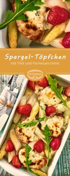 Spargel-Töpfchen mit Filet: Schweinefilet auf weißem Spargel, überbacken mit einer Parmesancreme #spargel #rezept