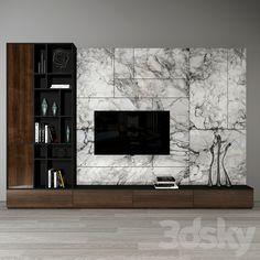3d models: TV Wall - Tv wall set_ 02 Wall Unit Designs, Living Room Tv Unit Designs, Tv Wall Design, Tv Cabinet Wall Design, Tv Unit Decor, Tv Wall Decor, Wall Tv, Modern Tv Room, Modern Tv Wall Units