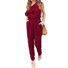 7517a5cfa168 Rompers. Ruffles Chiffon Jumpsuits Plus Size Overalls Summer Women Sexy  Casual One Shoulder Long Playsuits ...