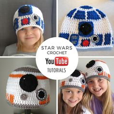 Easy step by step youtube tutorial. Star wars crochet. BB-8 crochet hat and R2-D2 crochet hat. Easy to follow! Fun to make. Star wars free crochet pattern.
