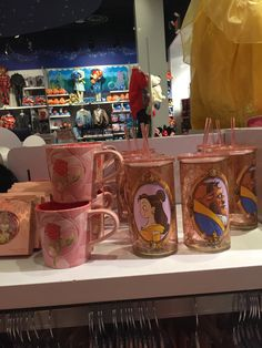 "disneymugs: ""Art of Belle - Stained Glass Rose Mug & Belle and Beast Glass…"