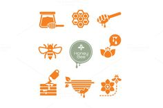 bee and honey symbol set on @creativework247