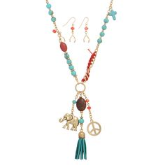 """Wholesale necklaces. 27"""" gold tone necklace set featuring a hammered metal elephant and peace sign focal accented by a turquoise tone tassel, coral and turquoise tone beads with matching 1"""" fishhook style earrings. https://judson.biz/browse-wholesale-All_Necklaces-82200085.html"""