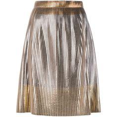Golden Goose Deluxe Brand metallic pleated skirt (£405) ❤ liked on Polyvore featuring skirts, metallic, golden goose, metallic skirt, brown skirt, brown pleated skirt and pleated skirt