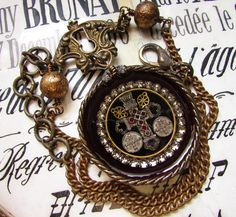 Madonna Enchanted antique religious reliquary necklace metallic trim velvet jeweled cross Victorian pocket watch case one of a kind jewelry by madonnaenchanted on Etsy