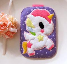 My Cute Pink Unicorn - Purple Stars Pink Camera iphone Gadget Case with closure. Gift for her. iPhone4/4s iPod Samsung S2 S3 S4 via Etsy