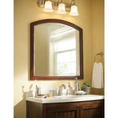Shop allen + roth Moravia 32-in H x 32-in W Sable Bathroom Mirror at Lowes.com
