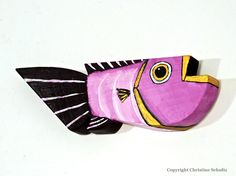 Wood Fish Decor Painted Purple Folk Art by TaylorArts on Etsy