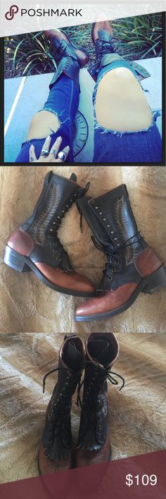 Tall Lace Up Boots ABILENE Roper Fringe Kiltie 8 Vintage Urban Renewal Extra Tall Leather Lacer Roper Kiltie Boots by Abilene. Two tone cognac brown and black tall Lace Up with gorgeous feather arrow embroidered detail. 2 fringe kilties that can be remove