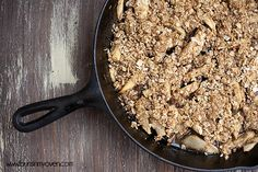 Apple Crisp baked in a cast iron skillet #recipe by bunsinmyoven.com
