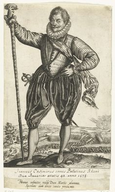 Hendrick Goltzius | Kapitein van de infanterie, Hendrick Goltzius, Anonymous, 1583 - 1600 | Portret van een man met (waarschijnlijk) een partizaan (stokwapen) in zijn linkerhand. Voorheen ook wel geidentificeerd als Gerrit de Jong, N. Blok of Pieter Dz. Hasselaer. Op de achtergrond een veldslag. Onder de voorstelling een handgeschreven titel en twee gegraveerde regels Latijn.