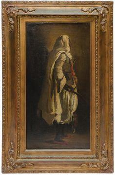 "RICHARD PARKES BONINGTON (INGLATERRA, 1802-1828). ""O Guerreiro Tuareg"", óleo s/ tela, 46 X 2"
