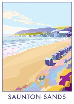#Saunton Sands #Devon #vintage style #travel #posters available at http://beckybettesworth.myshopify.com/collections/devon/products/saunton-sands