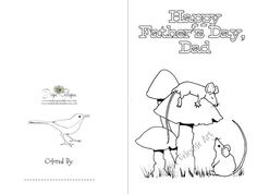 Printable Father's Day Kids Coloring Card by ToadstoolPrintables