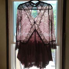 She In dress Beautiful brown lace longsleeved mini dress handkerchief style bottom She In Dresses Mini