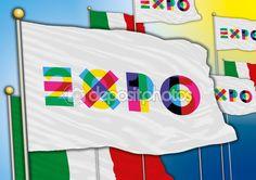 Vector file, utilizzo editoriale, Milano (Italia), illustrazione, bandiera di expo 2015 — Vettoriali Stock © frizio #79579258
