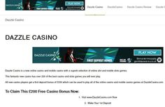 Dazzle Casino, Dazzle Casino Review, Rovert Affiliates, New Online Casino, Free Casino Bonus, New Slots Games