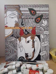 Madhubani Art, Madhubani Painting, Mandala Canvas, Mandala Art, Krishna Art, Radhe Krishna, Aluminum Foil Art, Kalamkari Painting, Acrilic Paintings