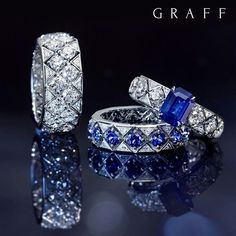 The pursuit of beauty: Few things in this world are more magical and more ethereal than a falling snowflake, the inspiration behind the Graff Snowfall collection which now comprises the Snowfall watch, earrings, necklaces and these beautifully geometric rings. #GraffDiamonds #Snowfall #FineJewellery #Sapphires #DiamondDesign #SapphireRing #GraffSnowfall