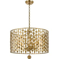 Showcasing a geometric openwork shade and an antique gold finish, this eye-catching chandelier offers an updated spin on a classic design.  ...
