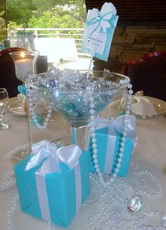Tiffany Blue Martini Glass Centerpiece but in red, black, & white. Large dice cubes with it. Tiffany Blue Weddings, Tiffany Theme, Tiffany Party, Azul Tiffany, Tiffany Wedding, Tiffany Blue Centerpieces, Bridal Shower Centerpieces, Martini Glass Centerpiece, Glass Centerpieces