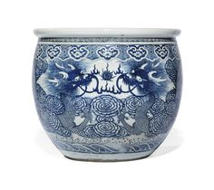 A LARGE BLUE AND WHITE 'DRAGON' FISH BOWL - LATE QING DYNASTY, 19TH/20TH CENTURY.