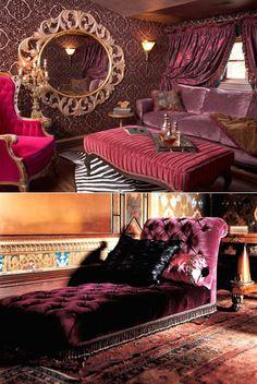 Velvet Velvet Velvet! Love the orange rug and purple chaise lounge color combo!