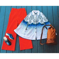 """This outfit is perfect for frolicking about on a sunny spring day! Adorable Sturbridge by Roosevelt white blue and green knit 70's sweater poncho with stamped thistle buttons and rose pattern, arm slits, O/S, 30.5"""" long, 42"""" wide at bottom, $48, paired with these awesome Levi's red cotton high waisted, no pockets, wide leg 70's pants, sz M, 28"""" waist, 44"""" long, 31"""" inseam, $38, and these cute Dala Clogs made in Sweden blue leather clogs with hand printed daisies and wooden sole, euro sz 40…"""
