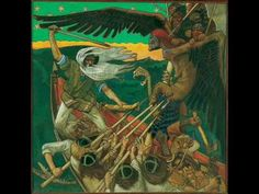 The Defense of the Sampo (Sammon puolustus) is a 1896 Romantic nationalist painting by Finnish painter Akseli Gallen-Kallela. The painting illustrates a passage from the Kalevala, the Finnish national epic compiled by Elias Lönnrot in the century. Runes Futhark, Museum Kunstpalast, Goddess Of The Underworld, Gods And Goddesses, Tempera, Held, Mythical Creatures, Folklore, Les Oeuvres